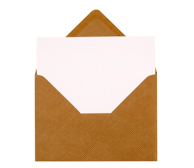 Message card inside brown envelope