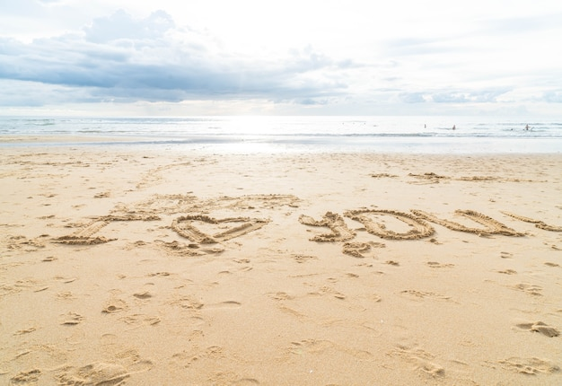 Message i love you on the sand