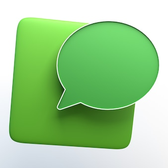 Message icon isolated white. 3d illustration. app.