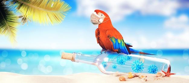 休暇中のコロナウイルスとオウムの瓶に入ったメッセージ