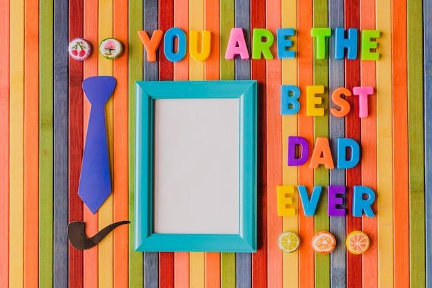 Сообщение «ты лучший папа когда-либо» с рамкой для фотографии