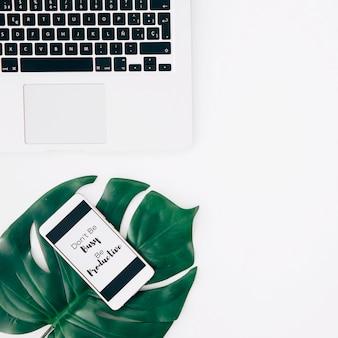 白い机の上のノートパソコンの近くの緑のモンステラの葉の上のモバイル画面上のメッセージ