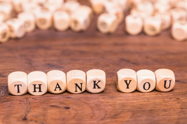Message thank you with wooden cubes