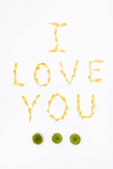 Message for valentines day with flower petals