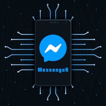 기술 배경 3d에 전화 화면에 메신저 로고 아이콘