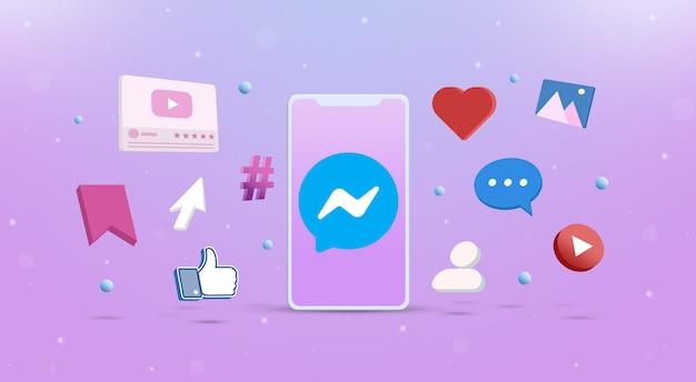 Значок логотипа messenger на телефоне с иконками социальных сетей вокруг 3d Premium Фотографии