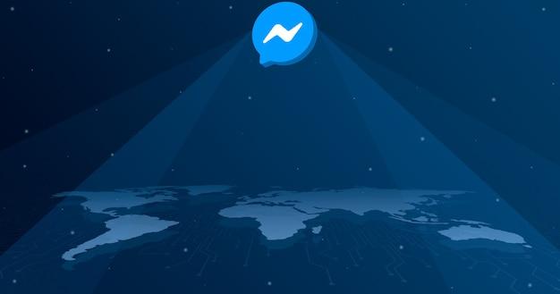 세계지도 3d의 모든 대륙에 메신저 로고 아이콘
