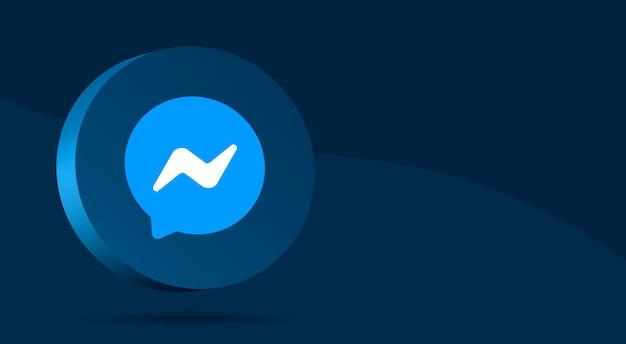 Минималистичный дизайн логотипа messenger на круге 3d