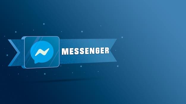 기술 플레이트에 비문이있는 메신저 로고 3d