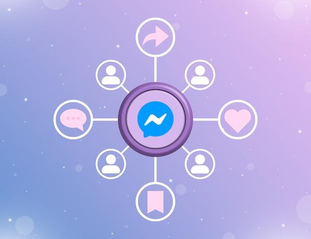 Логотип социальных сетей messenger на круглой кнопке с типами социальных действий и значками пользователей 3d