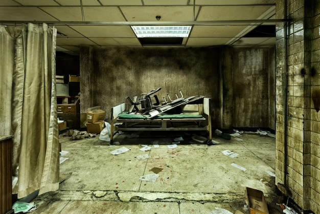 Messy abandoned room in psychiatric hospital
