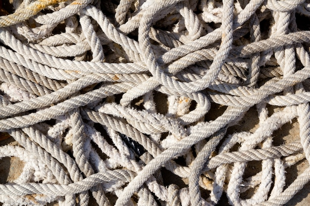 Messy braided ropes of fishing tackle