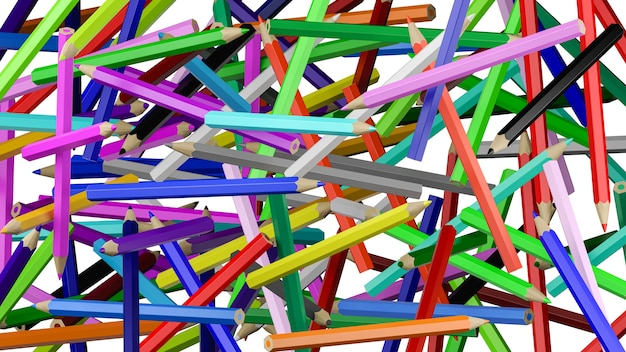Messy colorful pencils background illustration isolated