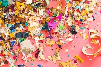 Messy confetti and colored paper