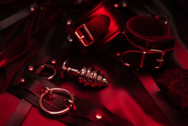 Металлическая анальная пробка и кожаные наручники с чокером для секса бдсм