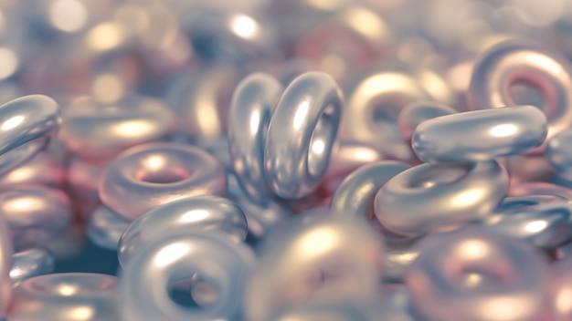 Металлическая деталь кольца фона. 3d иллюстрации, 3d рендеринг.