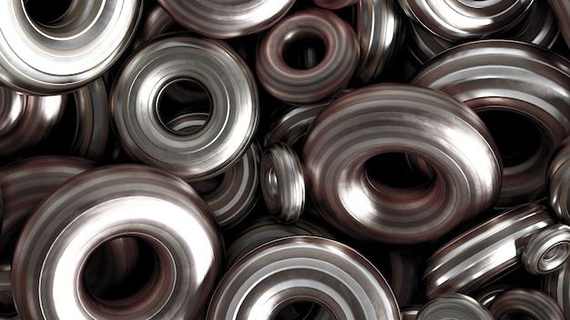 金属の背景リングの詳細。 3dイラスト、3dレンダリング。