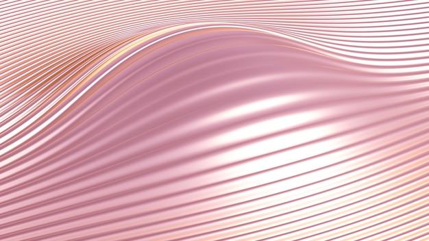 立体プリント、波と線と金属の背景。 3dイラスト、3dレンダリング。