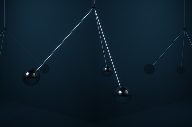금속 공은 서로 충돌하지 않고 공중에서 스윙