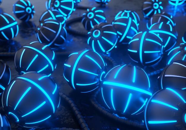Металлические шары с неоновыми огнями. привет-тек 3d визуализации фона.