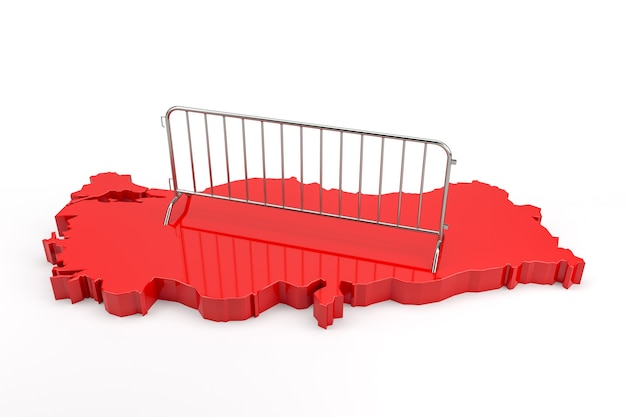 Metal barrier on extruded turkey map. 3d rendering