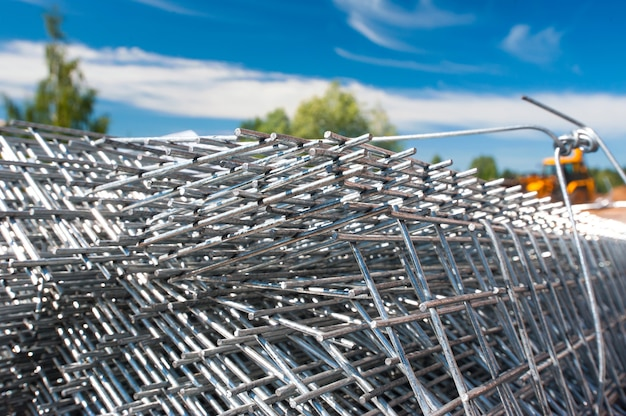Metal bars against the blue sky iron fittings