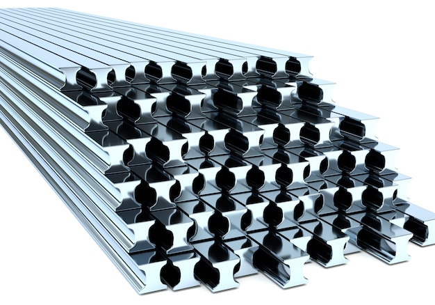 Metal beams on a white background. 3d illustration