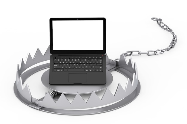 Metal bear trap and modern laptop computer with white screen for your design on a white background. 3d rendering