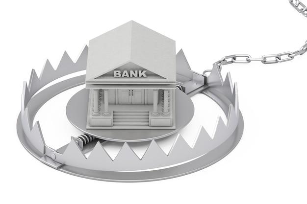 Металлическая ловушка для медведя с зданием банка на белом фоне. 3d рендеринг