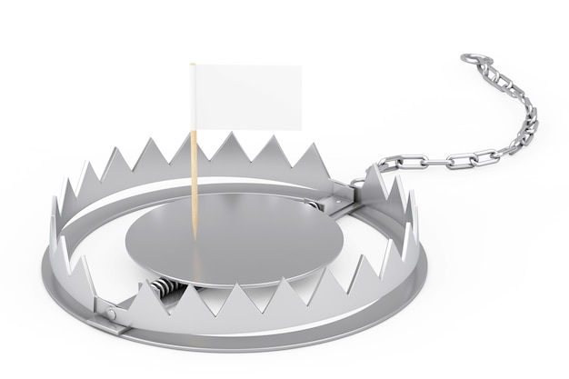 Metal bear trap with mini paper pointer flag with free space for your design on a white background. 3d rendering