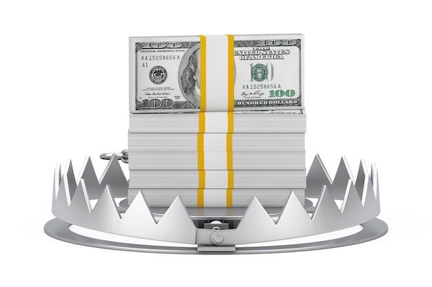 Металлическая ловушка для медведя со стопкой долларовых купюр на белом фоне. 3d рендеринг