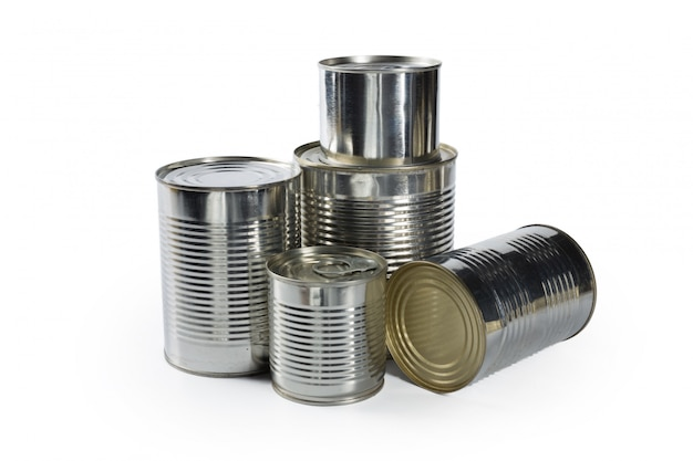 Metal cans on a white .