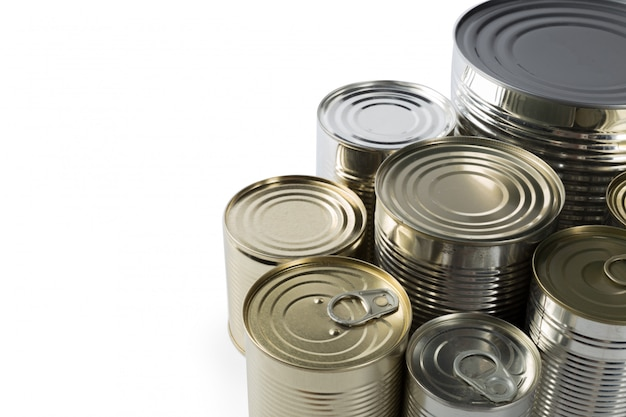 Metal cans on a white