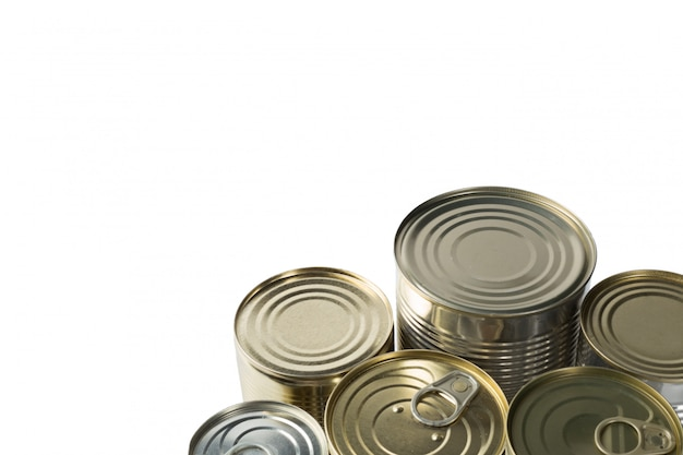 Metal cans.