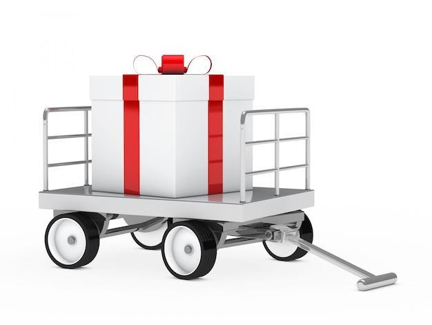 Металлическая тележка с подарком