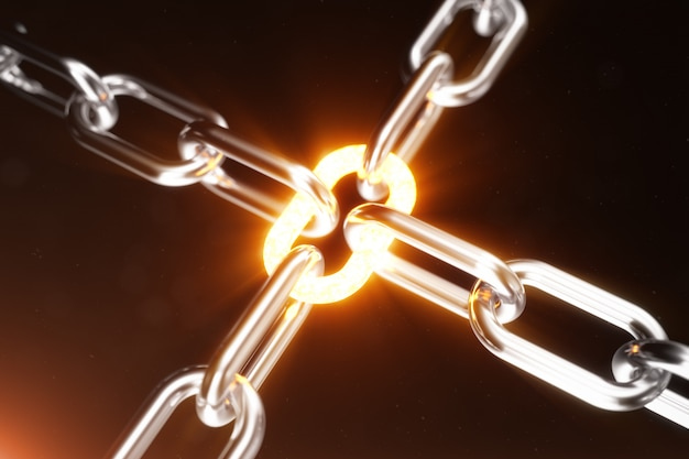The metal chain is connected with the red-hot link. power concept. 3d illustration