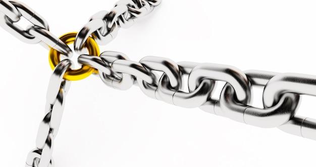 Металлические звенья цепи изолированные