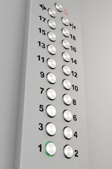 금속 크롬 엘리베이터 버튼 극단적인 근접 촬영