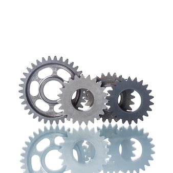 Metal cog wheels on white background