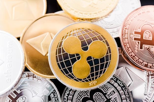 Metal coins digital cryptocurrency business finance money market set