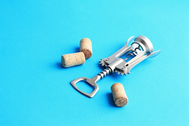 Metal corkscrew for wine and cork