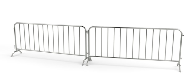 Металлический барьер толпы изолирован. 3d рендеринг