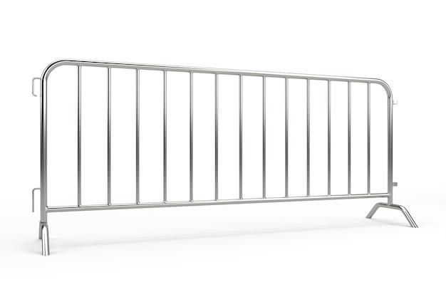 Металлический барьер толпы изолирован. 3d рендеринг Premium Фотографии