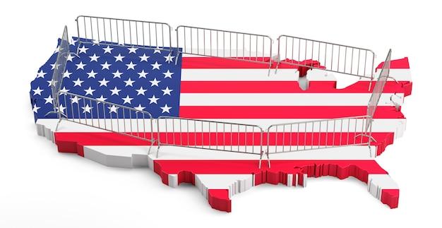 押し出し米国地図上の金属群集バリア。 3dレンダリング