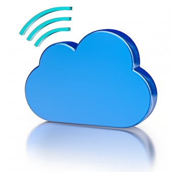 Metal database icon and blue glossy cloud