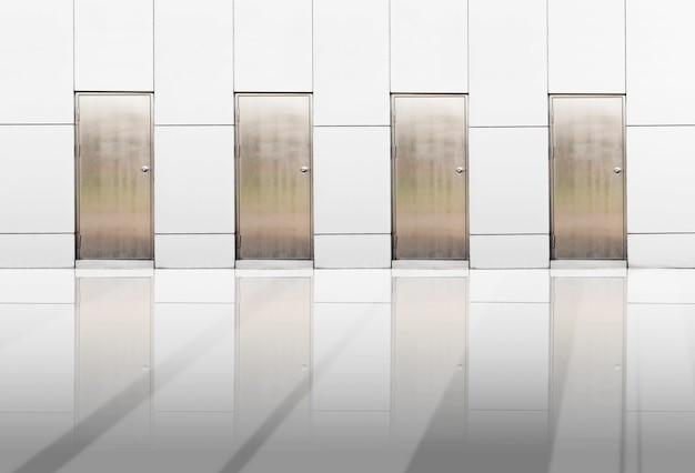 Metal door and reflection on floor