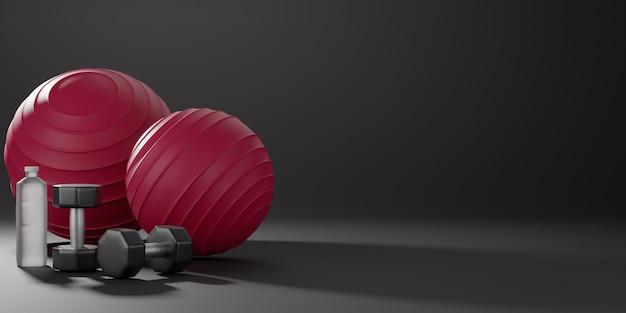 Металлические гантели, красный фитбол и бутылка для питьевой воды. оборудование для фитнеса