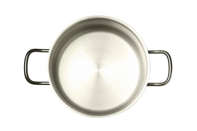 白い背景で隔離の金属の空の鍋。