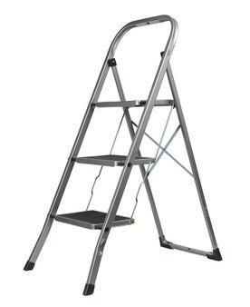 흰색 배경, 3 단계 구조에 고립 된 금속 접는 사다리