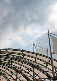 Metal frame of the large canvas canopy.